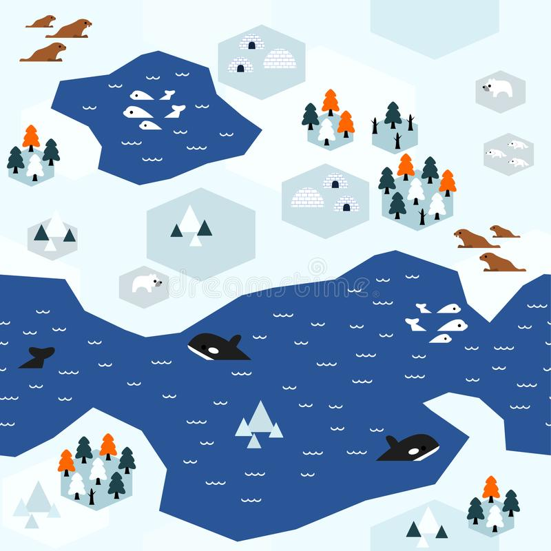 平的北极地图样式变形B 库存例证
