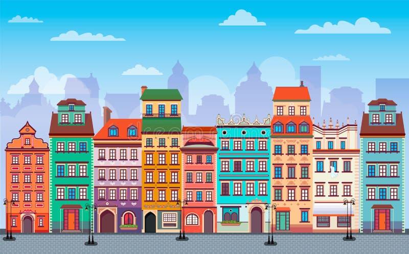 平的华沙都市风景全景波兰欧洲多颜色街道 向量例证