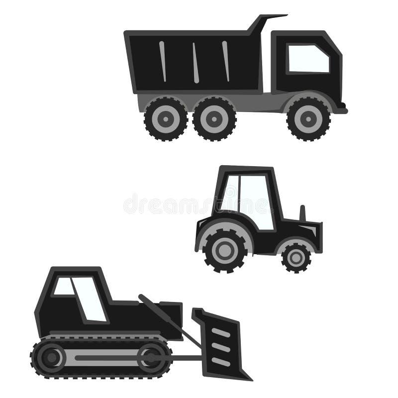 平的单色黑和灰色产业运输集合 向量例证