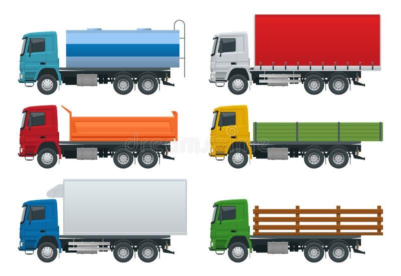 平的卡车设置了在白色背景的被隔绝的现实车 石油罐车,翻斗车,冰箱卡车 向量例证