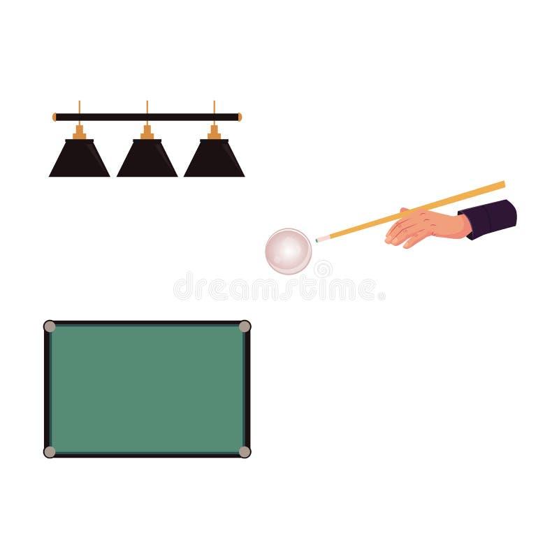 平的台球反对-桌,瞄准手,光 皇族释放例证