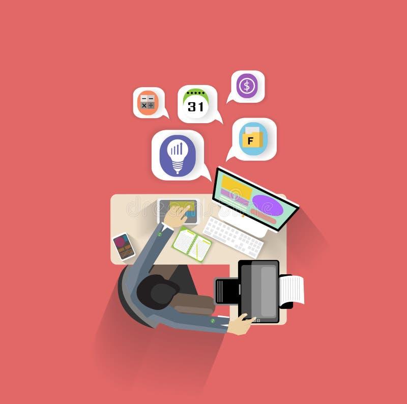 平的商人创造性的办公室工作区的设计现代传染媒介例证概念,书桌背景顶视图  库存例证
