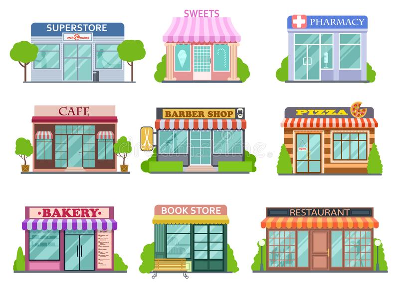 平的商店集合 理发店、书店和药房 面包店和比萨被隔绝的动画片故事传染媒介收藏 库存例证