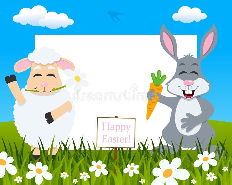 水平的复活节框架-羊羔&兔子 向量例证