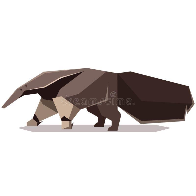 平的多角形大食蚁兽 库存例证