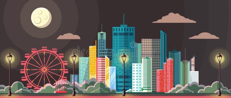 平的夜场面都市城市风景样式现代设计  向量例证