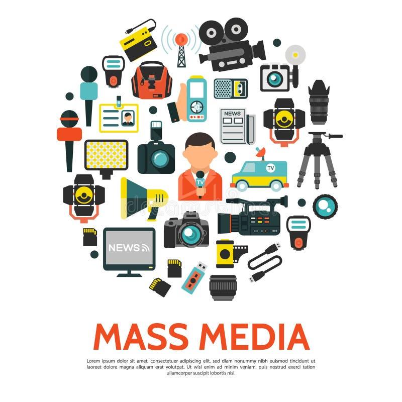 平的大众传播媒体圆的概念 皇族释放例证