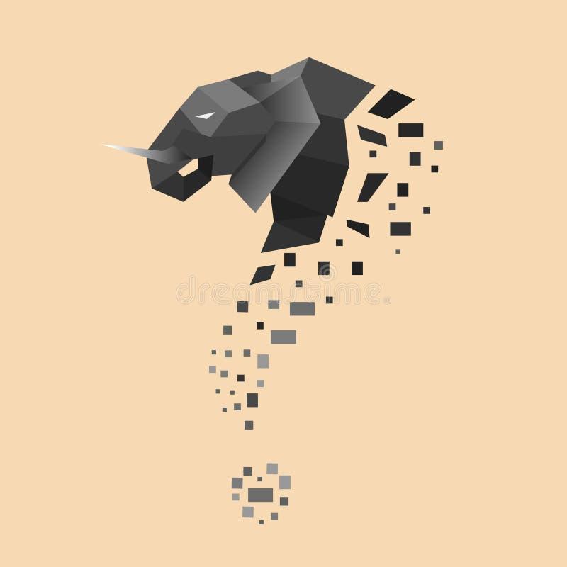 平的大象把变成问题标志 免版税图库摄影