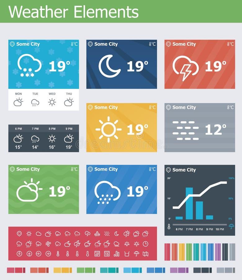 平的天气app UI元素 皇族释放例证