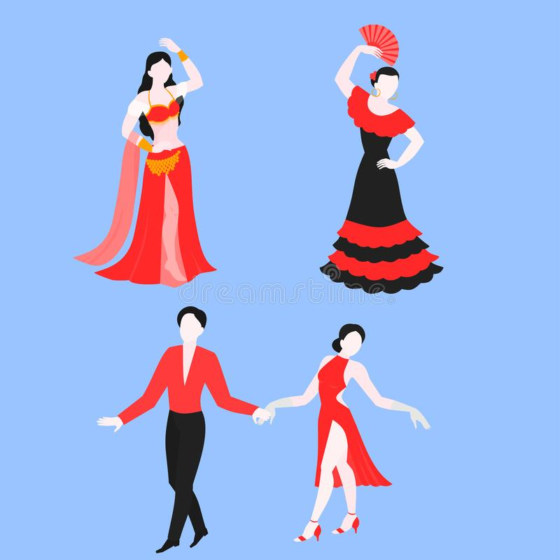 平的套佛拉明柯舞曲、拉丁美洲人和肚皮舞,全国服装的传统舞蹈家 表现跳舞 向量例证