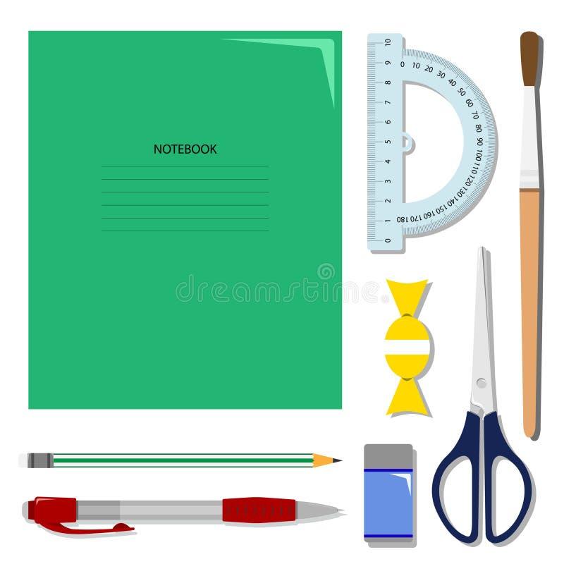 平的套在桌上的文具 学校或办公室传染媒介集合 库存例证