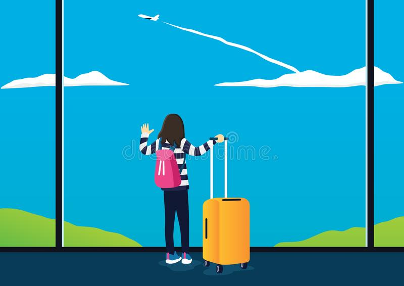 平的妇女观看飞机热心地起飞 皇族释放例证