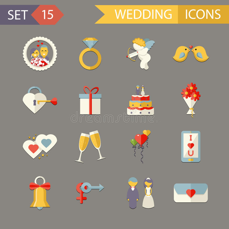 平的婚礼标志新娘新郎婚姻 库存例证