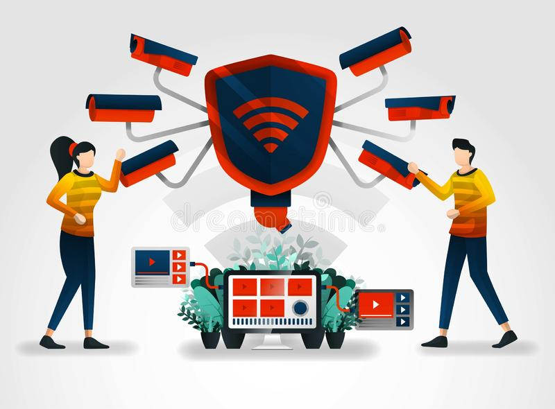 平的字符 安全监控相机保重在努力的最大保护数据保密 证券业补全他们的服务 皇族释放例证