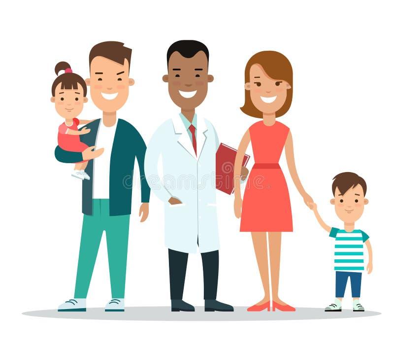 平的家庭儿童医生字符 同水准 库存例证