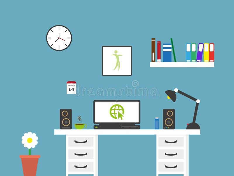 平的家庭办公室工作区内部 向量例证
