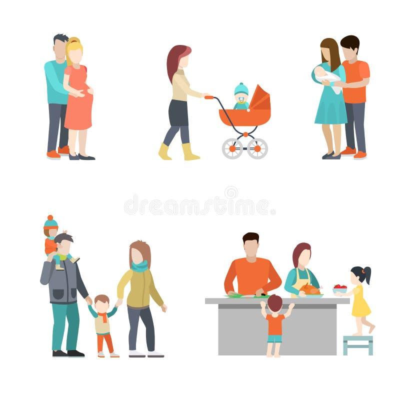 平的家庭厨师婴孩孕妇育儿vec 皇族释放例证