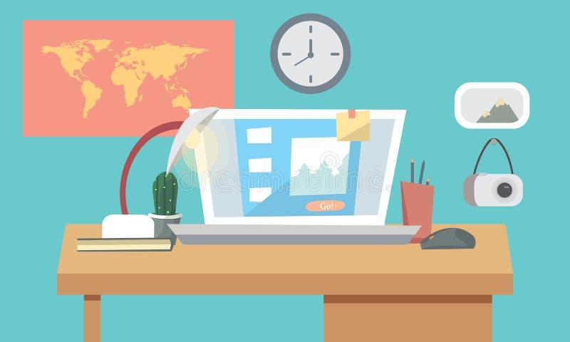 平的工作地点的设计内部概念有计算机的,灯,显示器的工作程序,在蓝色墙壁背景 库存例证