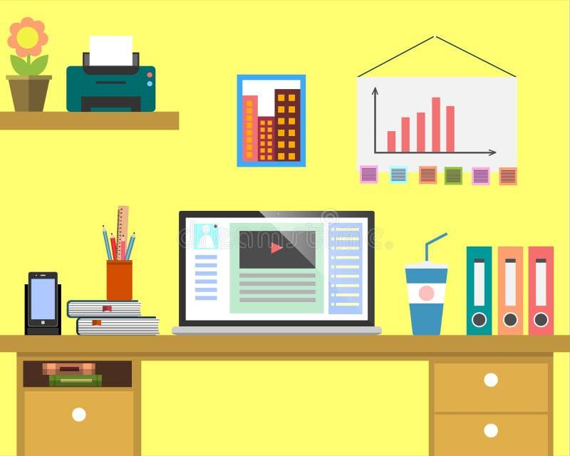 平的工作场所网横幅 平的设计商人例证工作区,事务的,管理,战略概念 皇族释放例证
