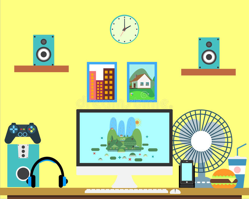 平的工作场所网横幅 平的设计游戏玩家例证工作区,事务的,管理,战略概念 向量例证