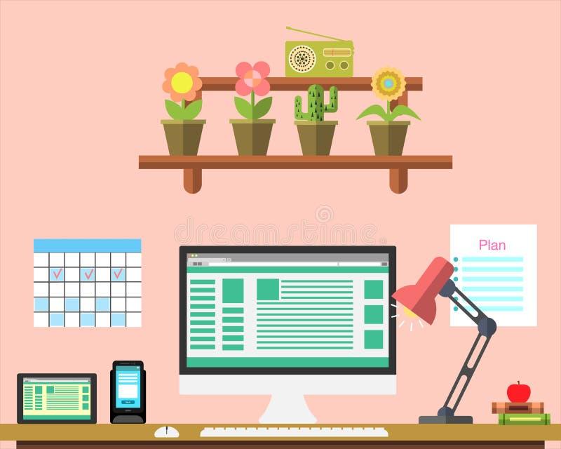 平的工作场所网横幅 平的设计网设计师例证工作区,事务的,管理,战略概念 库存例证