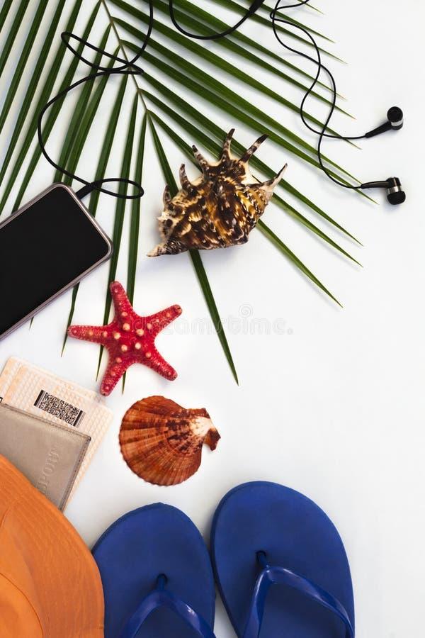 平的布局,热带棕榈树背景、旅行和海滩假日概念与智能手机在白色背景 库存图片