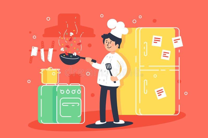 平的年轻人厨师,油炸物在专业制服的厨房里 库存例证