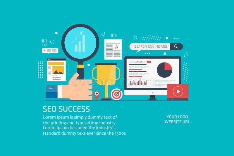 平的成功的seo战略、销售计划和网上经营分析的设计现代概念 皇族释放例证