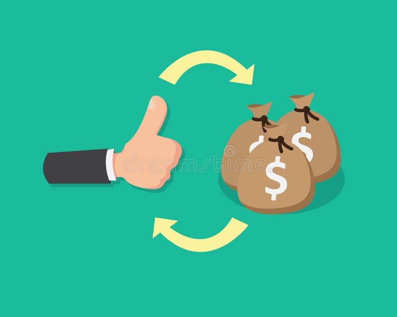 平的手赞许和金钱 库存例证