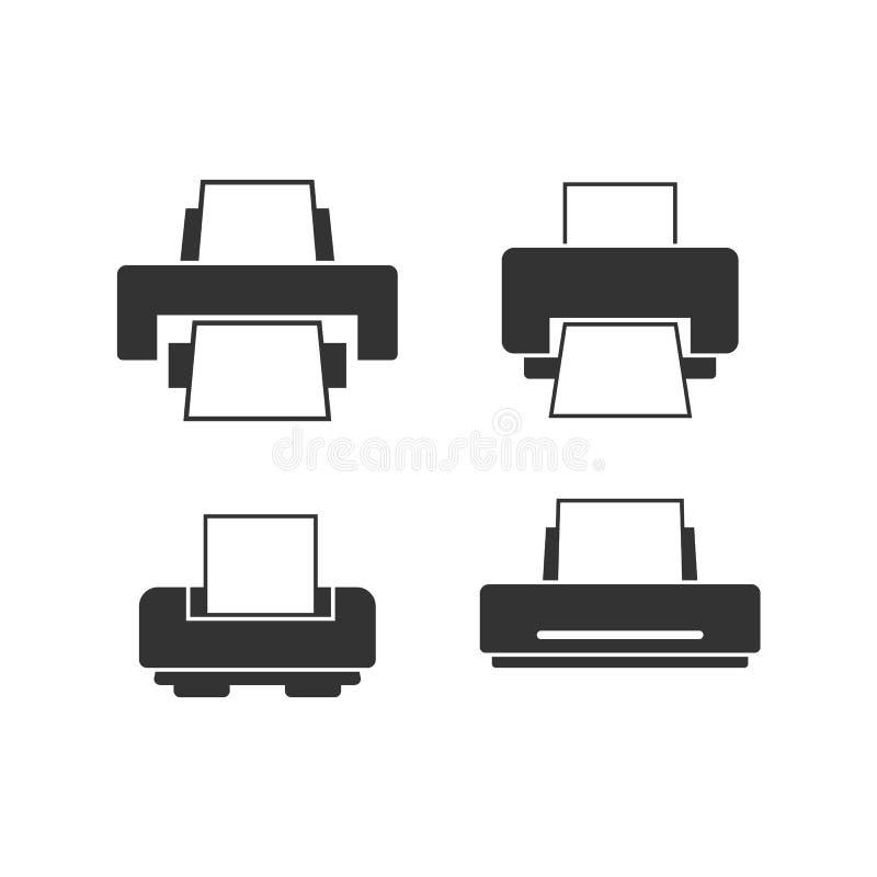 平的打印机图标集合传染媒介设计模板 向量例证