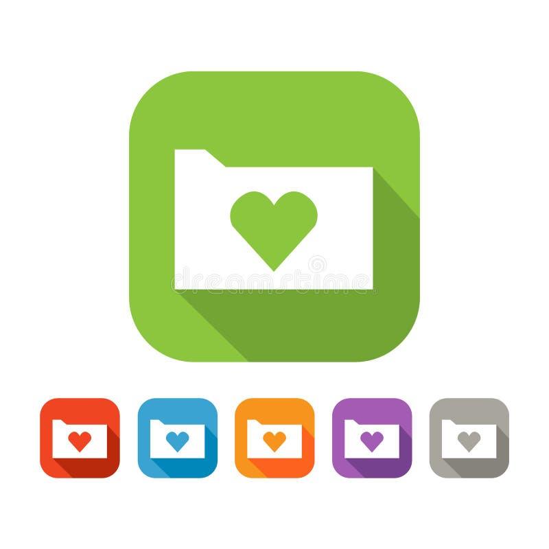 平的文件夹彩色组与心脏的 向量例证