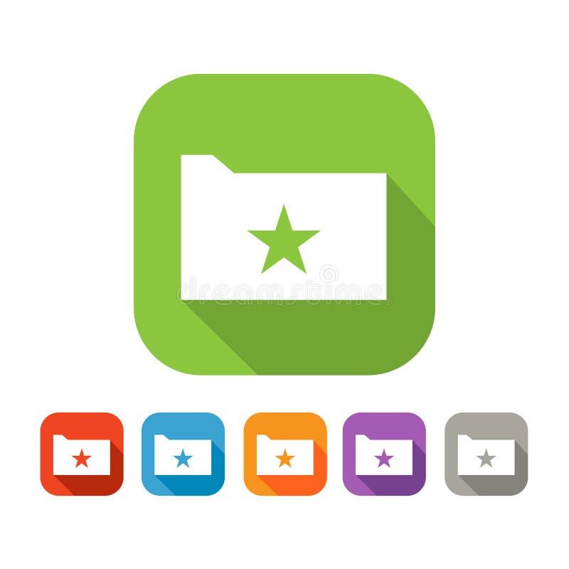 平的文件夹彩色组与星的 库存例证