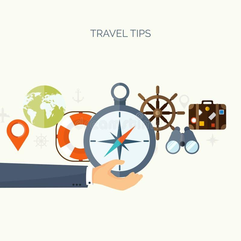平的旅行背景 暑假假期 平面小船,汽车旅行 旅游业旅行旅途 库存例证