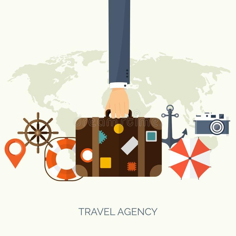 平的旅行背景 暑假假期 平面小船,汽车旅行 旅游业旅行旅途 向量例证