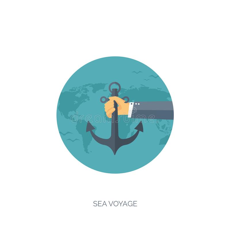 平的旅行背景 暑假,假期 飞机,小船,汽车旅行 旅游业,旅行,旅途 向量例证