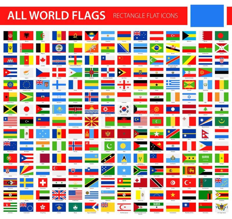 平的旗子象-所有世界传染媒介 皇族释放例证