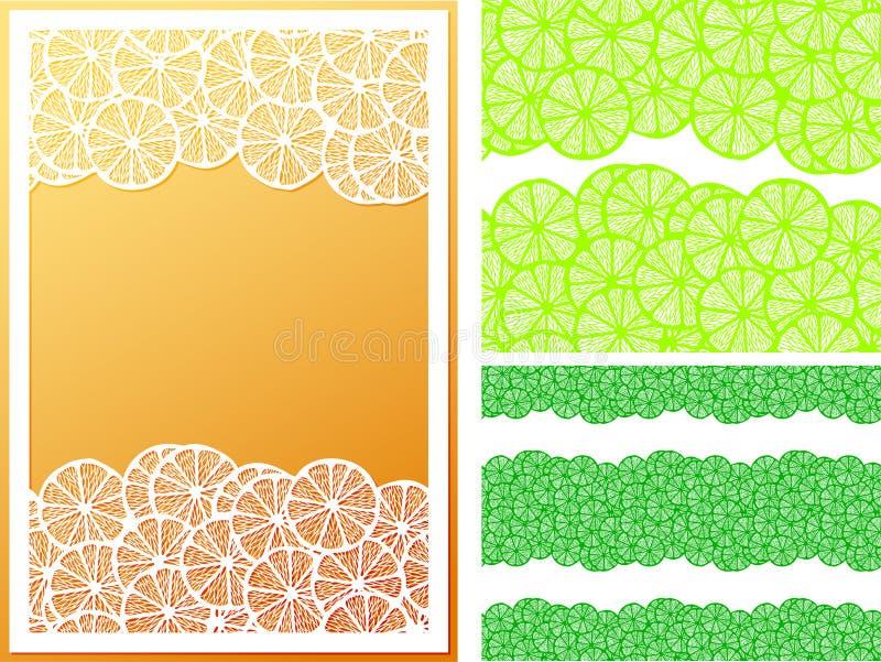 水平的无缝的柠檬切样式和框架 皇族释放例证