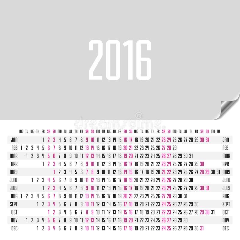 水平的日历2016年 向量例证