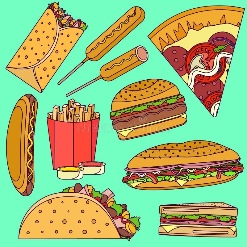 平的明亮的流行艺术传染媒介快餐象设置了包括面卷饼,汉堡,薄饼,三明治,炸玉米饼,玉米面热狗 皇族释放例证