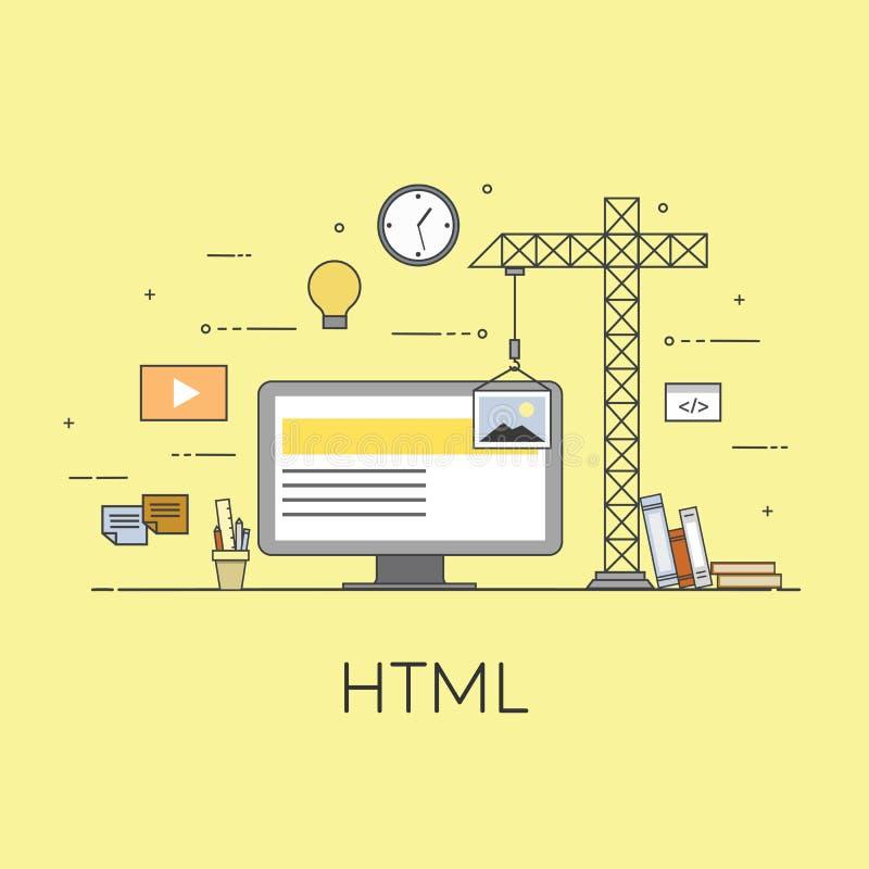 平的机动性UI UX设计网infographic概念例证 设计接口的Html编制程序 用户界面 向量例证