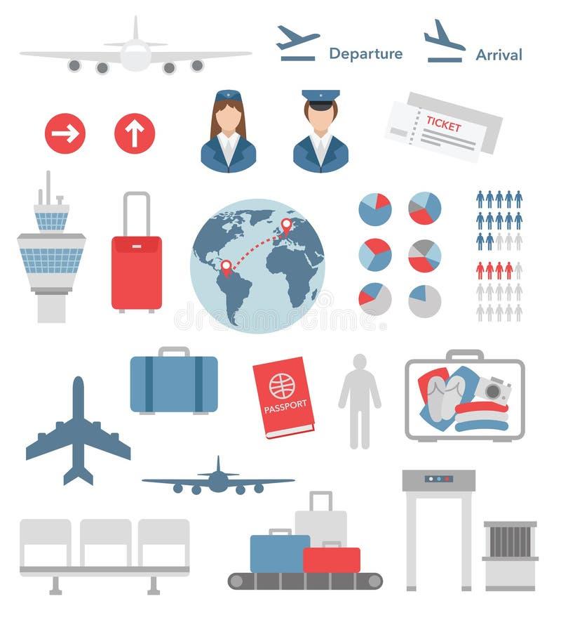 平的机场infographic元素和象传染媒介 库存例证