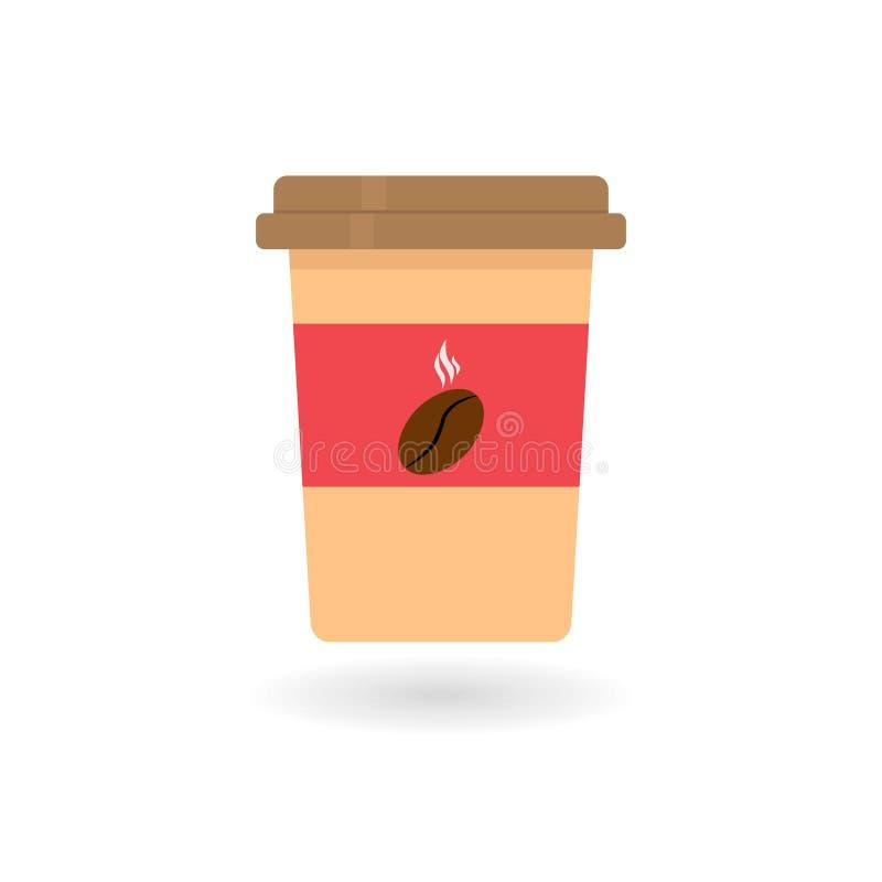 平的杯子咖啡象的传染媒介图象与豆商标和阴影的 向量例证