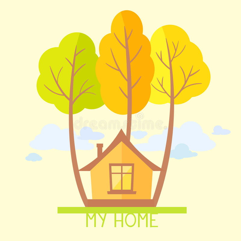 平的树和的房子 库存例证