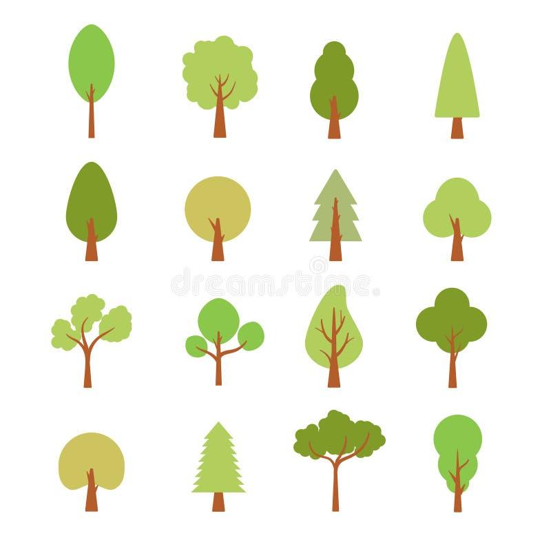 平的树集合 平的林木自然植物被隔绝的eco叶子 向量例证
