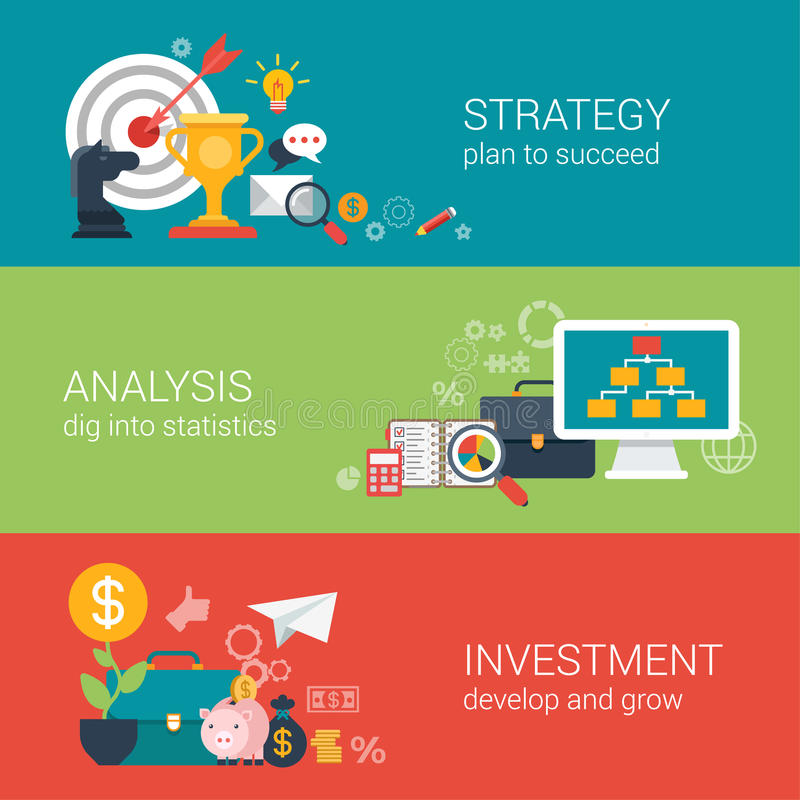 平的样式企业成功战略目标infographic概念 库存例证