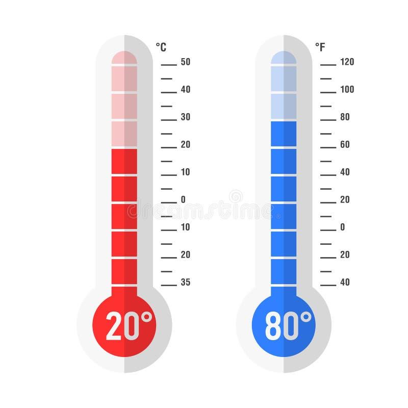 平的样式摄氏和华氏寒暑表 库存例证