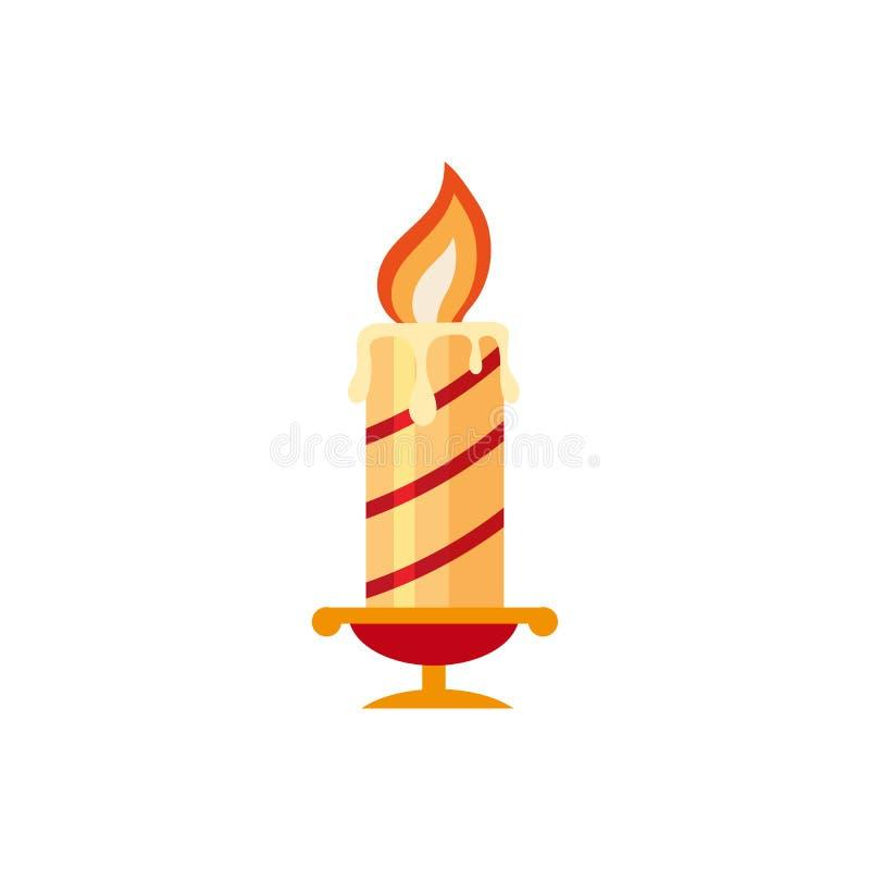 平的样式灼烧的蜡烛,圣诞节象 库存例证