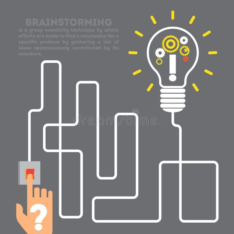 平的样式现代想法创新电灯泡infographic概念 皇族释放例证