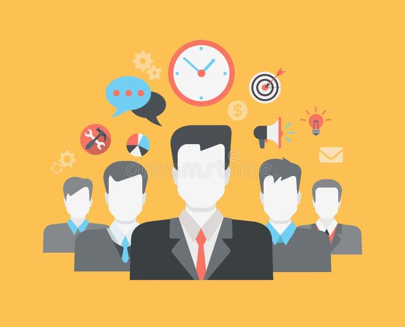 平的样式现代网infographic人际关系HR概念 向量例证