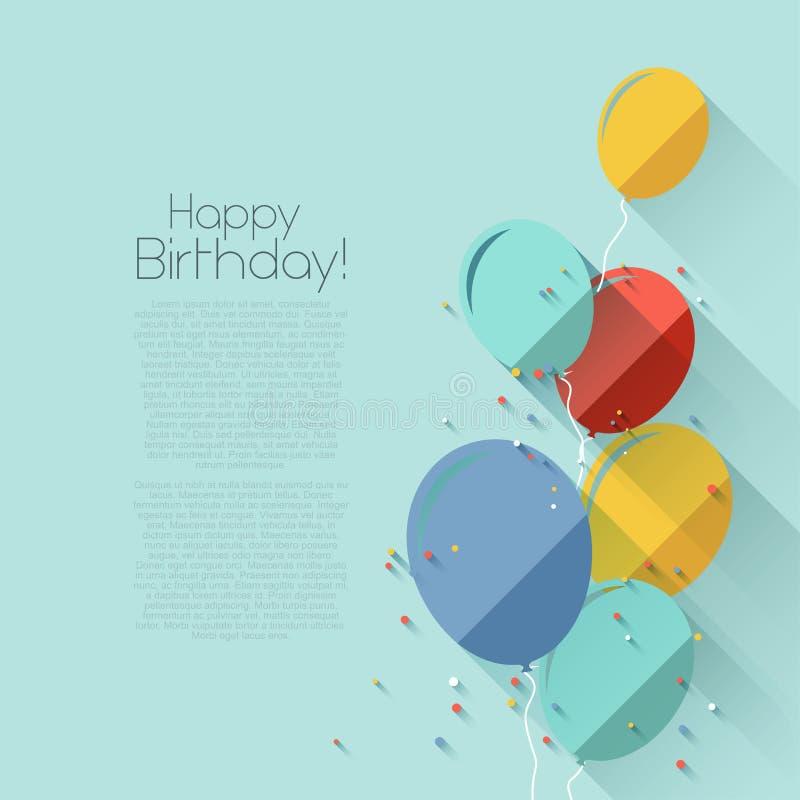 平的样式生日背景 向量例证